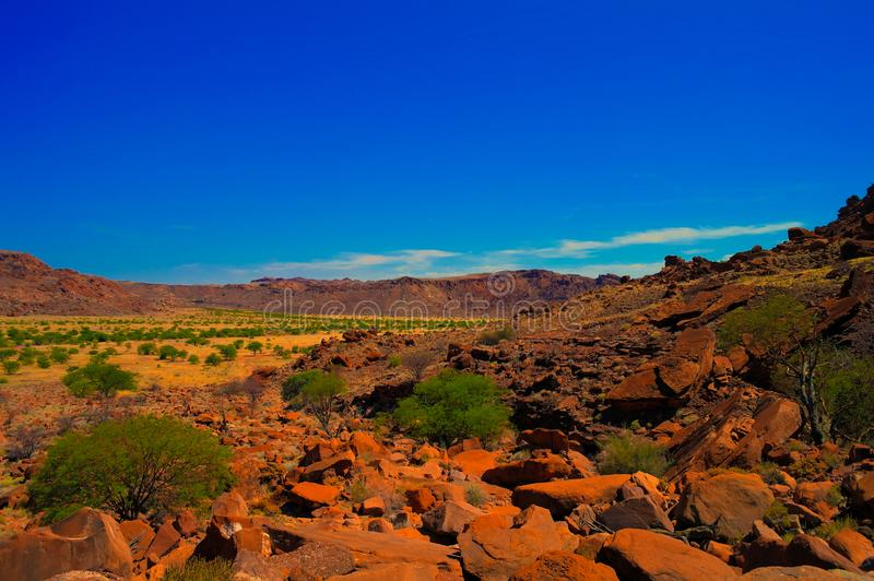 Twyfelfontein archaeological site in Namibia. Panorama view to Twyfelfontein archaeological site in Namibia royalty free stock photos