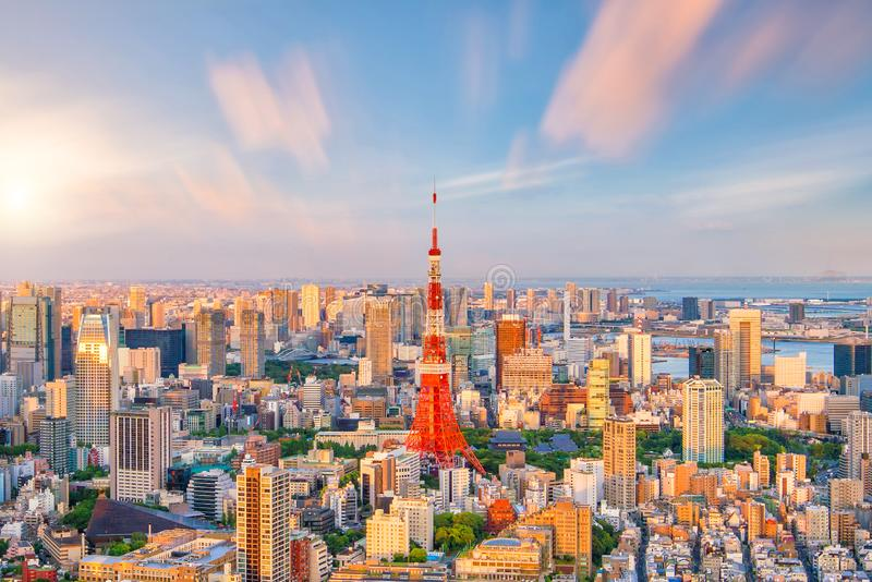 Panorama view of Tokyo city skyline and Tokyo Tower building in Japan royalty free stock photography