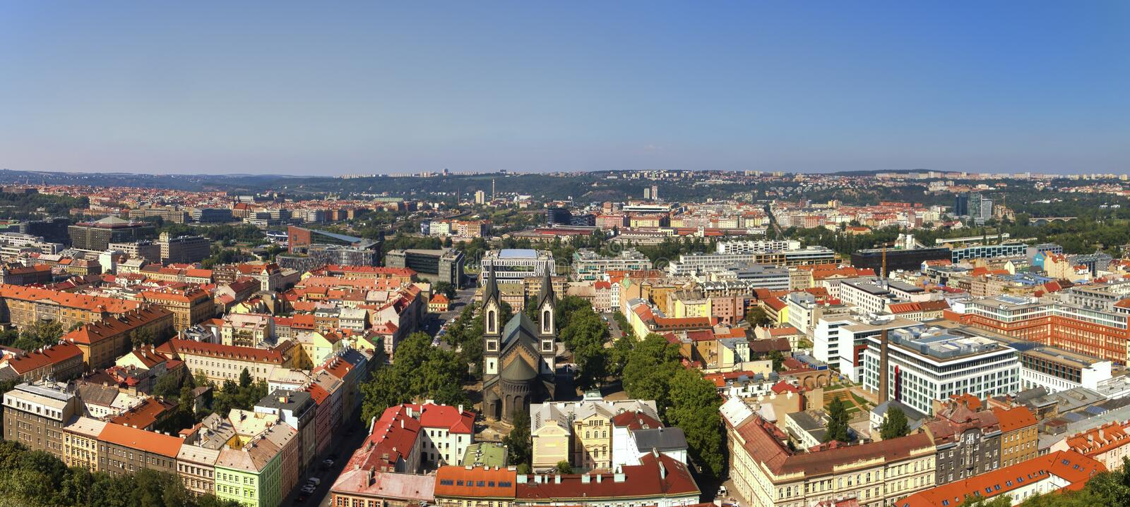 Panorama view from the top of the Vitkov Memorial on the Prague landscape on a sunny day stock photo