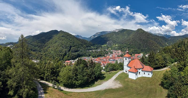 Panorama view of Trzic, Slovenia, Europe. Trzic town in Slovenia - where Radetzky began his march royalty free stock photos