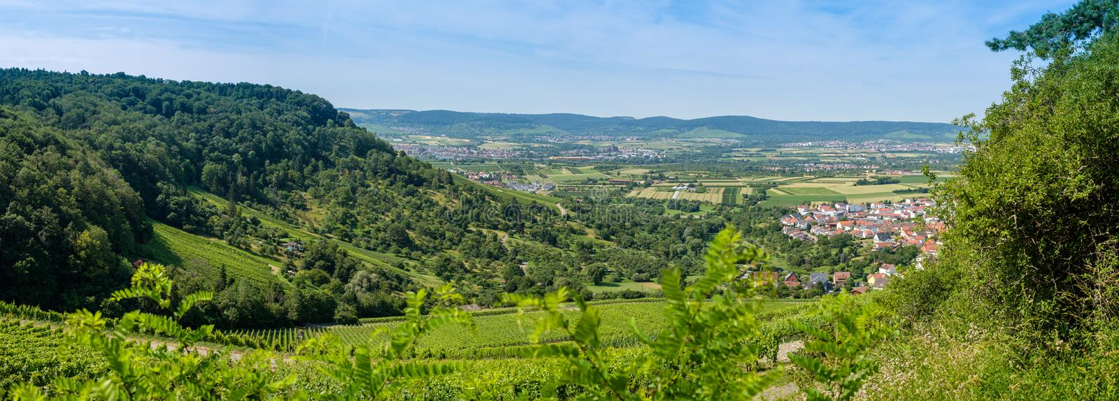Panorama view at village Weinstadt in Germany. Panorama view at village Weinstadt with green plants in Germany royalty free stock photo