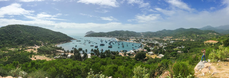 Panorama view of Vinh Hy Bay in Nha Trang stock images