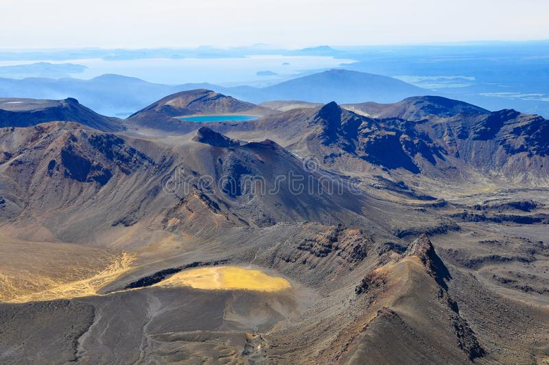 Panorama view of volcanic landscape, Tongariro Alpine Crossing, Tongariro National Park, North Island, New Zealand royalty free stock image
