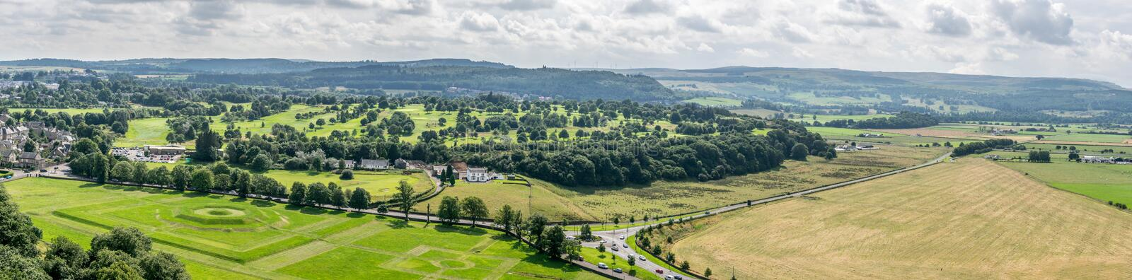 A view of Bannockburn and Sauchieburn battlefield near Stirling. A panorama view of where the battle of Bannockburn and Sauchieburn took place. A view of king`s royalty free stock photography