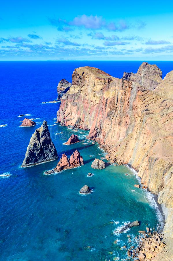 Panorama view of the wild coast and cliffs at Ponta de Sao Lourenco, Madeira island, Portugal.  royalty free stock image