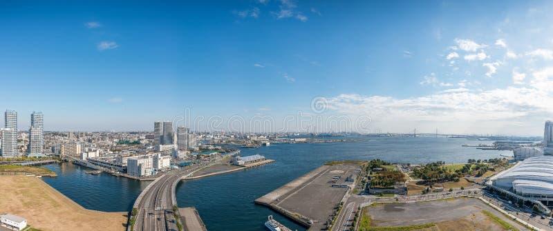 Panorama View of Yokohama bay. Bridge and Yokohama sea port royalty free stock images