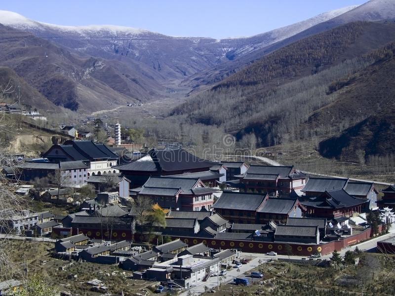 Panorama villages with Buddhist monasteries in the stock image
