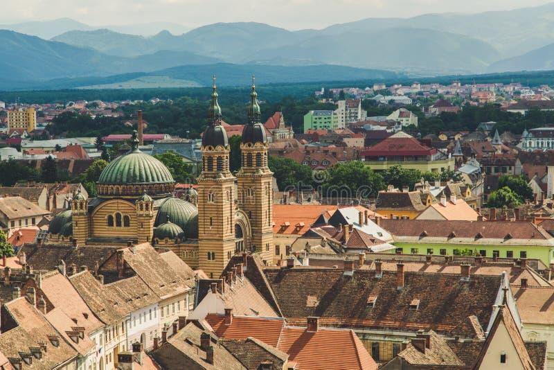 Panorama, ville de Sibiu, belle ville historique en Roumanie images stock
