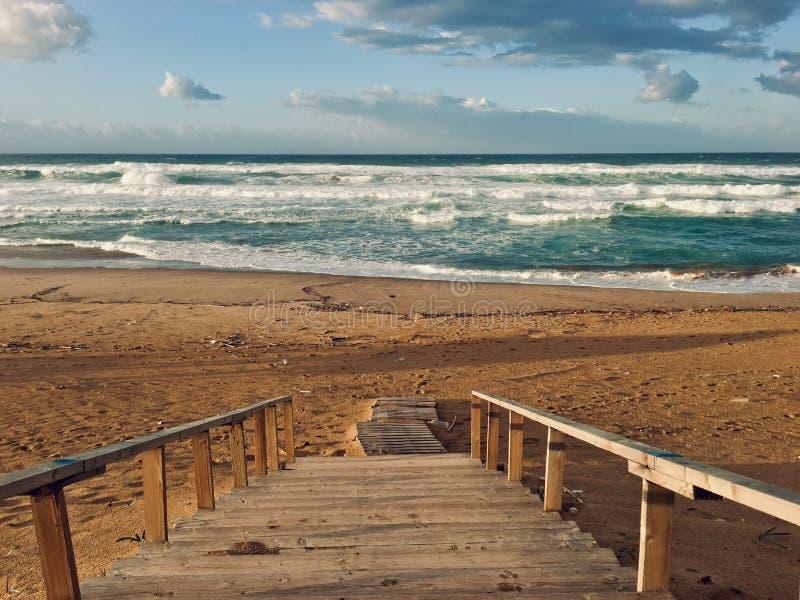 Panorama of virgin Mediterranean seashore landscape in Skikda, Algeria royalty free stock photos