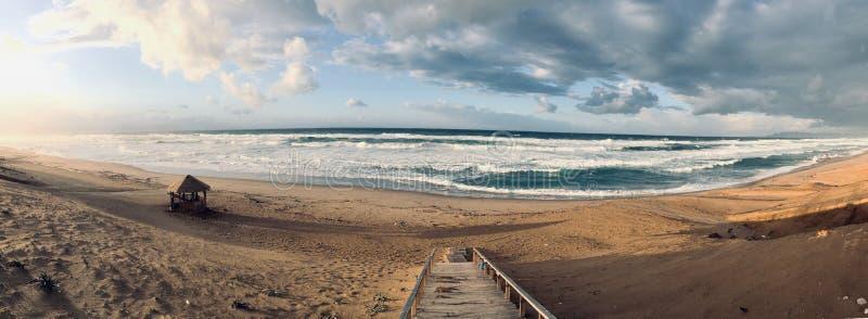 Panorama of virgin Mediterranean seashore landscape in Skikda, Algeria stock photos