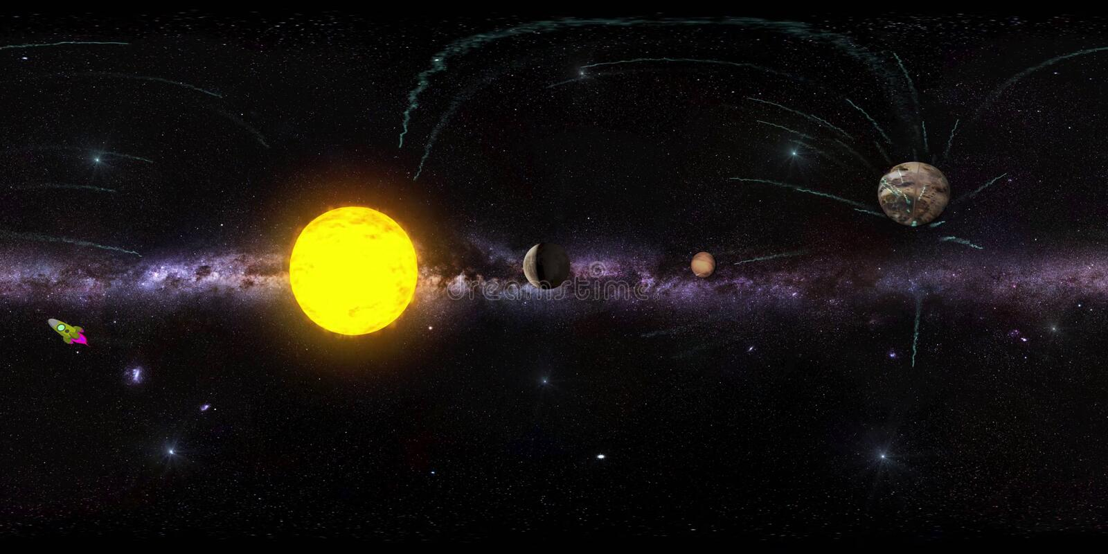 Panorama virtual reaility background of outer space stock illustration