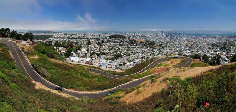 Panorama Vista Della Baia Di San Francisco Da Twin Peaks California, USA fotografie stock