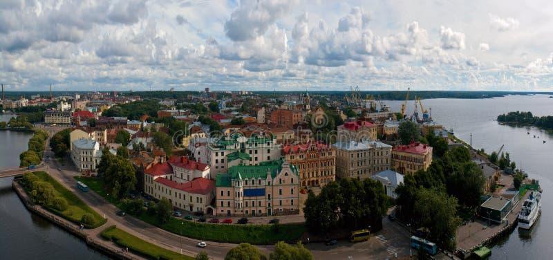 Panorama Vista della città di Vyborg Regione di Leningrado La Russia immagini stock libere da diritti