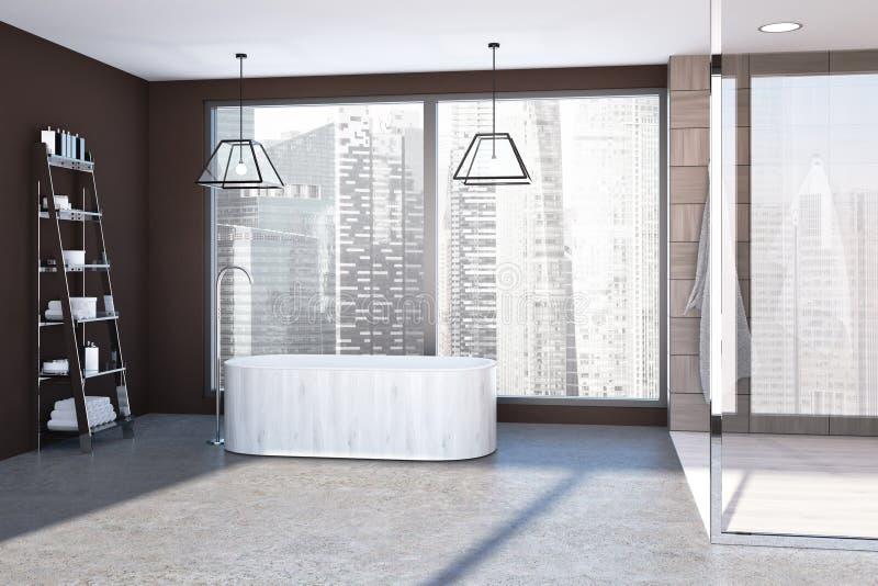 Panorama- vit badar badrummet royaltyfri illustrationer