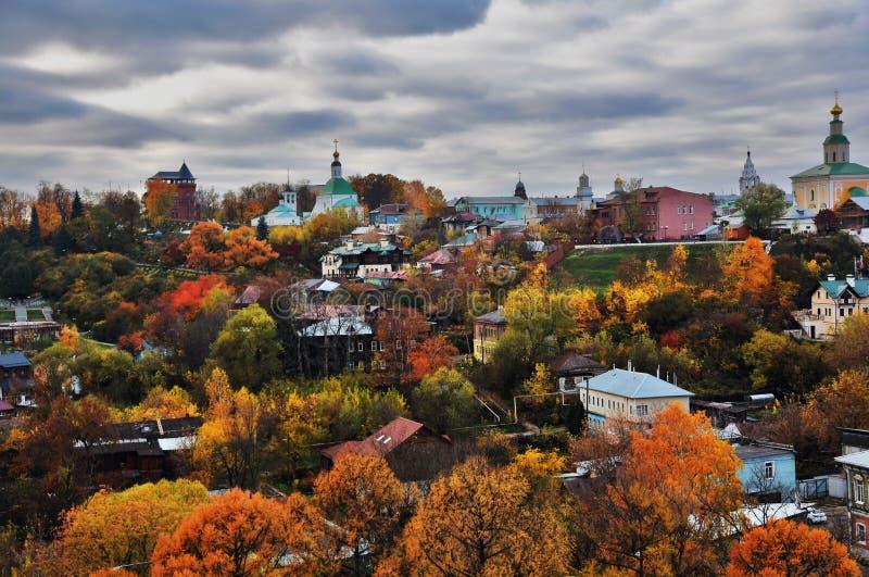 Panorama of Vladimir town, Russia. Autumn nature. royalty free stock photo