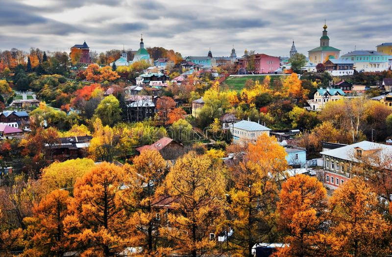 Panorama of Vladimir town, Russia. Autumn nature. royalty free stock images