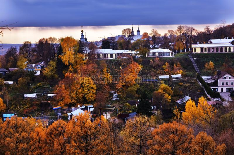 Panorama of Vladimir town, Russia. Autumn nature. stock image