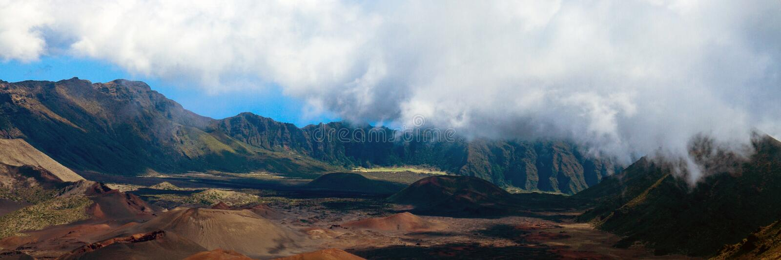 Panorama of the volcanic crater and caldera at Haleakala National Park on the island of Maui in Hawaii royalty free stock image
