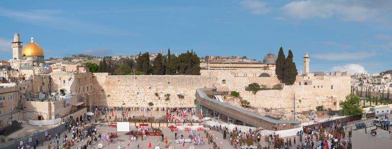 Panorama vom Tempelberg in Jerusalem mit Felsendom, Wai lizenzfreies stockbild