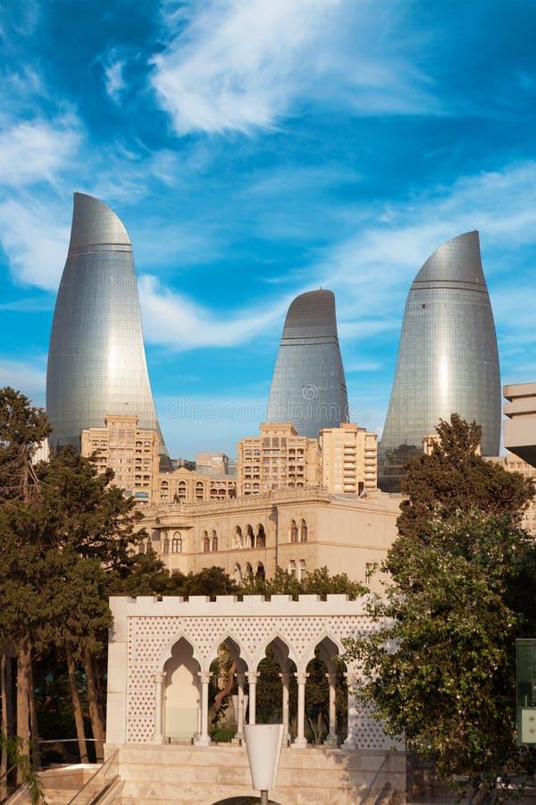 Panorama von Baku-Stadt, Aserbaidschan lizenzfreies stockfoto