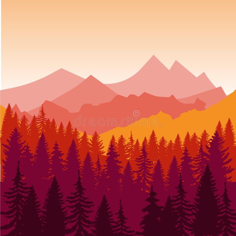Panorama von Bergen und von Waldschattenbild gestalten früh den Sonnenuntergang landschaftlich Flacher Designvektor lizenzfreie abbildung
