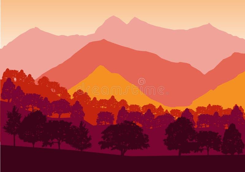 Panorama von Bergen und von Waldschattenbild gestalten früh den Sonnenuntergang landschaftlich Flaches Design vektor abbildung
