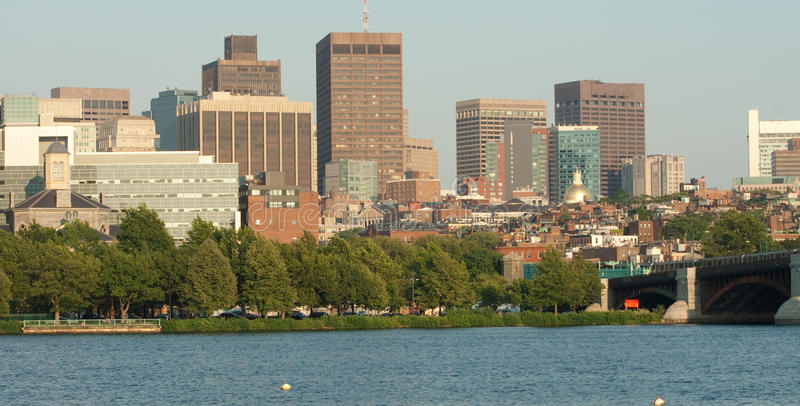 Panorama von Boston-Hafen und -Skylinen stockfoto