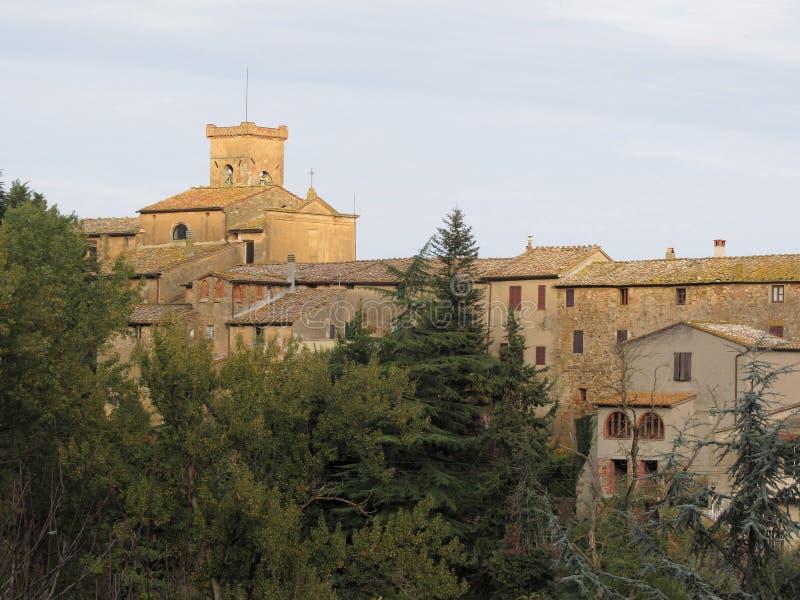 Panorama von Chianni-Dorf, Provinz von Pisa Toskana, Italien stockfoto