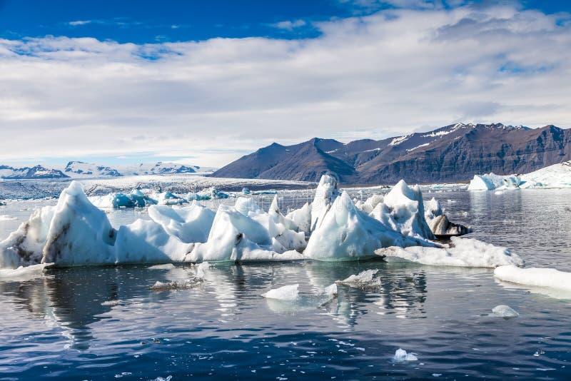 Panorama von den Eisbergen, die in die blaue Lagune schwimmen lizenzfreie stockfotos