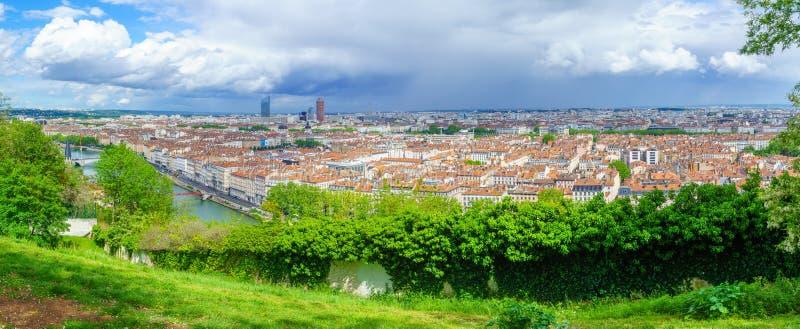 Panorama von der Saone, Stadtzentrum, von Abbe Larue, Lyon lizenzfreie stockfotografie