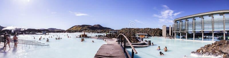 Panorama von einer der Anziehungskräfte in Island Blaue Lagune 11 06,2017 lizenzfreie stockfotos