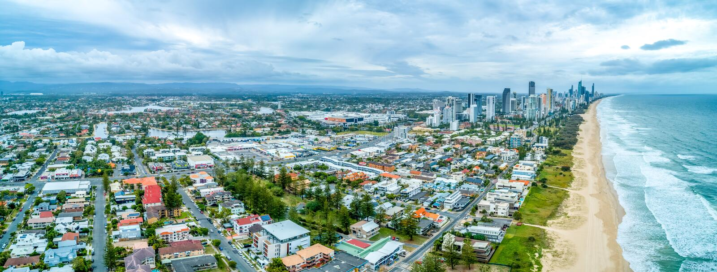 Panorama von Häusern auf Gold Coast stockfoto