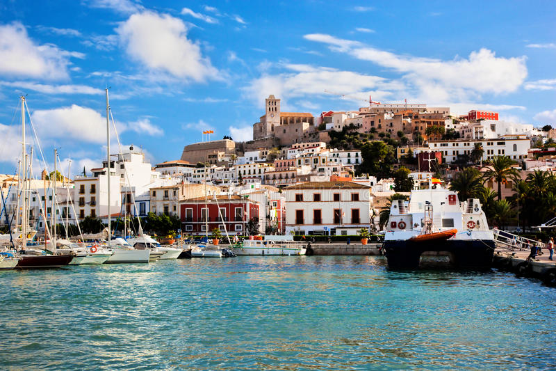 Panorama von Ibiza, Spanien stockbild