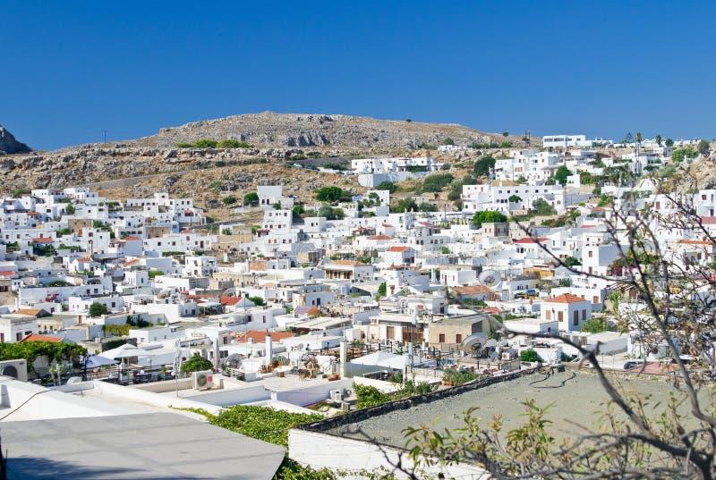 Panorama von Lindos-Dorf lizenzfreie stockfotos