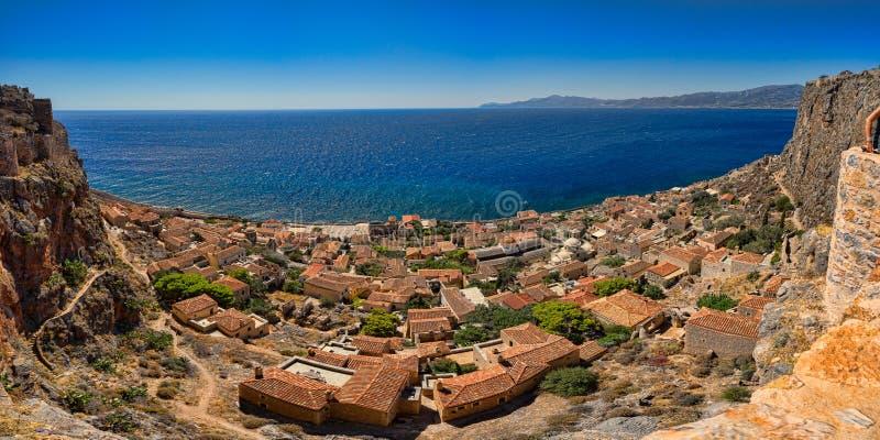 Panorama von Monemvasia lizenzfreies stockfoto