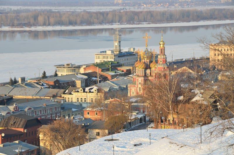 Panorama von Nischni Nowgorod beim Ivening, Russland lizenzfreie stockbilder
