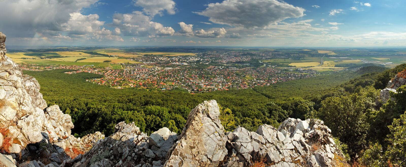 Panorama von Nitra, Slowakei stockbild