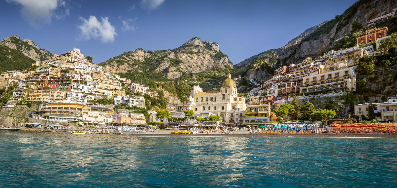 Panorama von Positano-Stadt, Amalfi-Küste, Italien stockfotografie