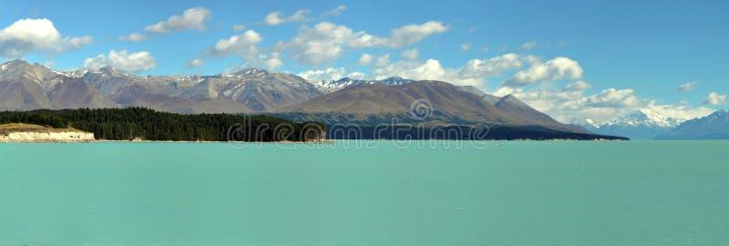 Panorama von See Tekapo, Neuseeland lizenzfreies stockfoto