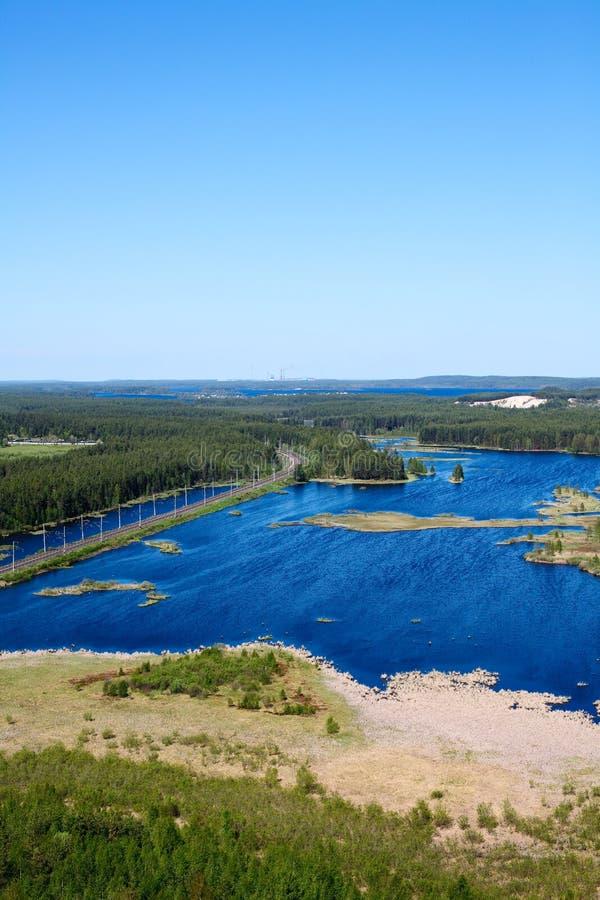 Panorama von Seen und von Holz von Karelien lizenzfreie stockfotos