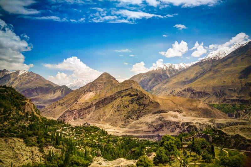 Panorama von Tal Karimabad und Hunza, Gilgit-Baltistan, Pakistan lizenzfreie stockfotos