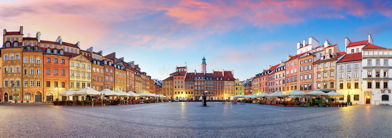 Panorama von Warschau-odl Marktplatz, Rynek Starego Miasta, Polen lizenzfreie stockbilder