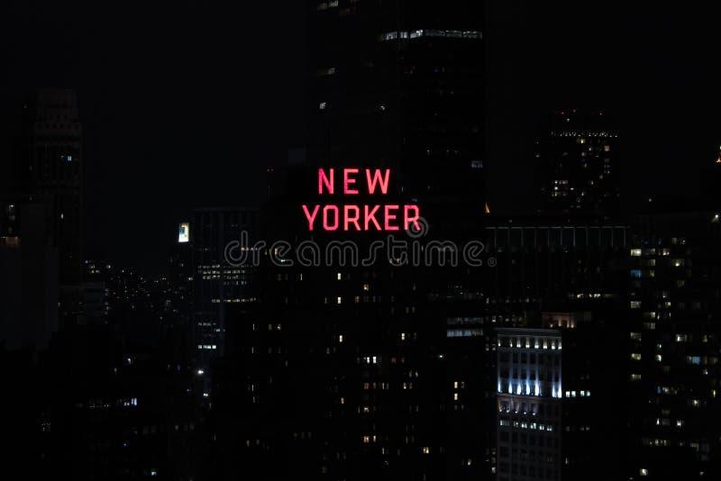 Panorama von Wolkenkratzern von New York City, Manhattan Ansicht der Nachtstadtmitte von Manhattan lizenzfreies stockfoto