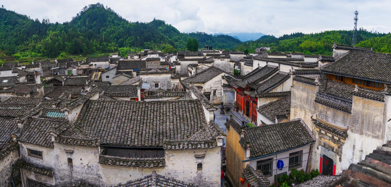 Panorama von Xidi-Dorf lizenzfreie stockfotografie