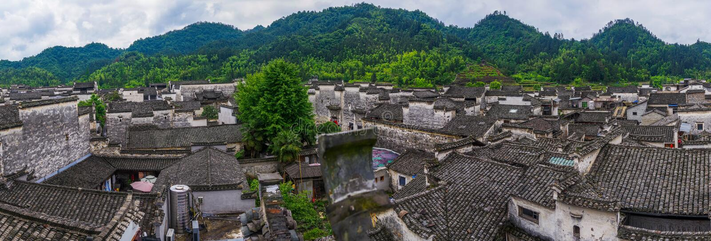 Panorama von Xidi-Dorf lizenzfreies stockfoto