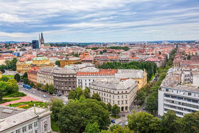 Panorama von Zagreb stockfotos