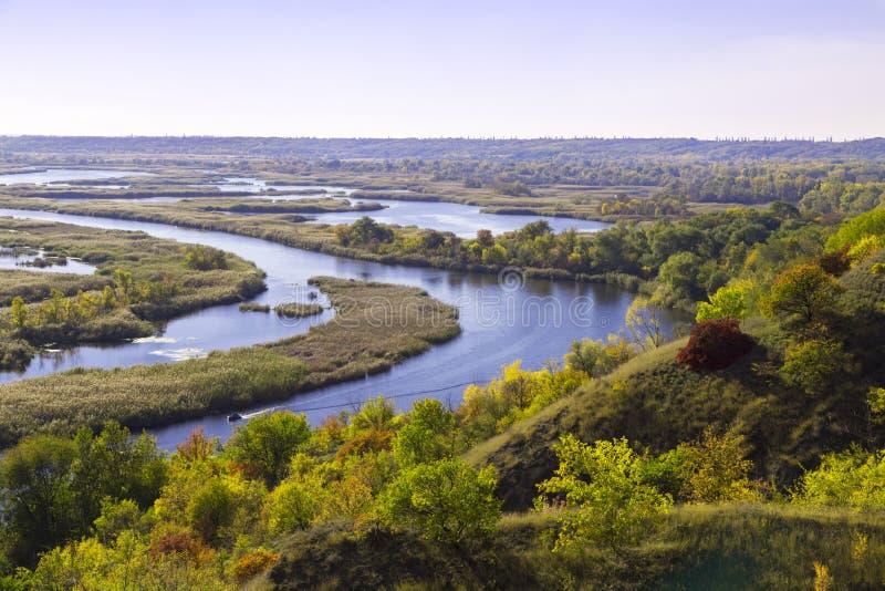Summer landscape: Vorskla river . Top view. Ukraine. Europe royalty free stock photo