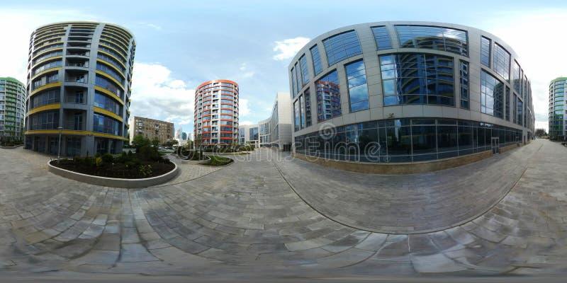 panorama 360 vr van modern stadskwart royalty-vrije stock afbeeldingen