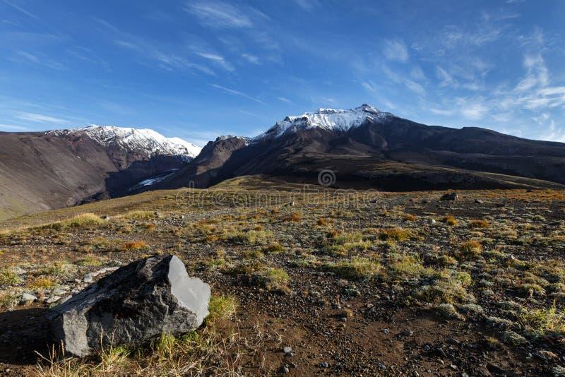 Panorama- vulkaniskt landskap för höst av den Kamchatka halvön arkivbild