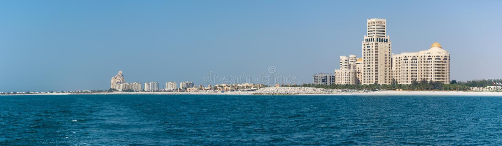 Panorama of Waldorf Astoria in Ras al Khaimah, United Arab Emirates UAE with the sea and beach in view royalty free stock photo